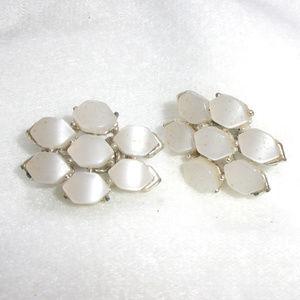 Coro Silver tone white clip on earrings vintage
